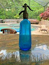 Vintage French Blue Pyramid Seltzer Bottle