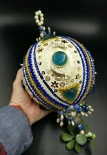 Vtg HUGE Beaded Sequined Jeweled Christmas Ornament Handmade Blue Gold WOW!