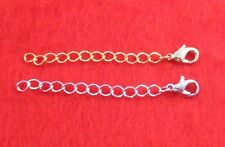 1 INCH 14KT GOLD & WHITE GOLD PLATED 4MM NECKLACE EXTENDER W/ LOBSTER CLAW SET