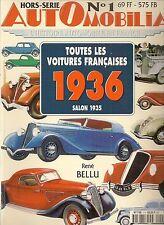 AUTOMOBILIA HS 1 TOUTES LES VOITURES FRANCAISES 1936 salon 1935