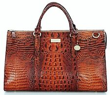 ❤️BRAHMIN ANYWHERE WEEKENDER PECAN BROWN DUFFEL TRAVEL LUGGAGE CROC LEATHER ❤️