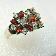 Women's Lab Created Ruby And Fiery CZ Cluster Cocktail Ring