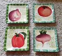 "Oneida FRESCA 5"" Square Bread Appetizer Canape Plates Set of 4"