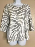 Chicos Women Size 2 White Zebra Print Half Sleeve Top