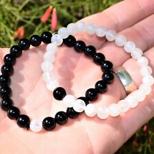 [Set] CHARGED Distance Bracelets Black Tourmaline & Rainbow Moonstone Crystals!
