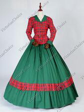Victorian Civil War Dickens Plaid Pioneer Woman Dress Christmas Costume 122 M