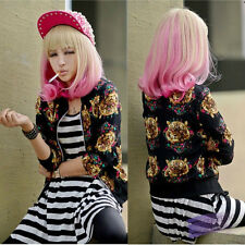 New Lolita Ladies Ombre Long Curly Wavy Hair Full Wigs Flaxen&Pink Cosplay Wigs