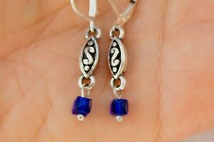 Altered Brighton Silver Charm Dangle Royal Blue Cube Crystal Lever Back Earrings
