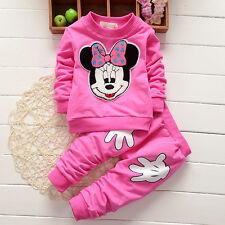 2PCS Baby Girl Boy Minnie Mouse Tracksuit Jumper Pants Autumn Clothes Outfit Set