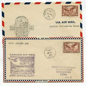 Canada 1936 Official First Flight Cachet 2 Covers USA