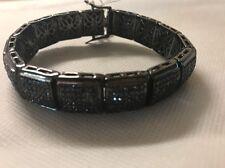 "Sterling Silver Black Men's Bracelet 8.5"" 75 Grams"