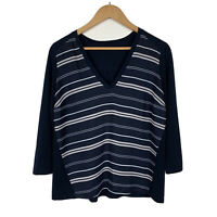 Tokito Womens Top Size 10 Striped 3/4 Sleeve Navy Blue Good Condition