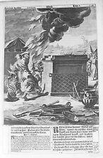 Vecchia BIBBIA antica stampa LUNEBURG da M scheits c1672 Moses Burning Bush Incisione