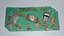 Rare Vintage Cowboy 1940's Western Set Watch Badge and Whistle Set Original
