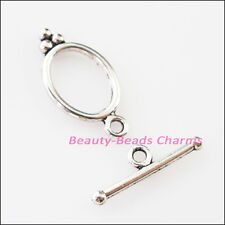 8Sets Tibetan Silver Smooth Oval Circle Bracelet Toggle Clasps Connectors