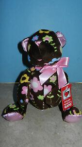 Ganz Floral Cutie Bear Stuffed Plush Soft Cuddly Cute Brown & Pink Print NEW NWT