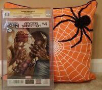 AMAZING SPIDER-MAN: #4 CGC 9.8 + QUOTE! 2X SS STAN LEE RAMOS + SILK / MOON;SLOTT