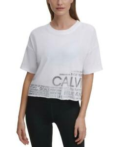 Calvin Klein Performance Cropped Logo Activewear T-Shirt, White, Size M,*Defects