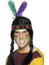 Mens Indian Ladies Squaw Feather Headband Headdress Fancy Dress Outfit Accessory