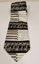 Steven Harris Necktie Dress Musical Notes Piano Keyboard Black White Hand Made