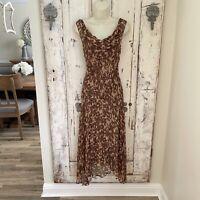 ECI Woman's Size 4 Silk Brown Beige Sequin Beaded Cowl Sleeveless Midi Dress