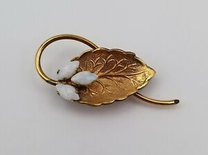 """Pretty Vintage Gold Tone Leaf Pin / Brooch with Faux Opal Accents 1 3/8"""" x 5/8"""""""