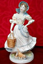 Vintage Royal Worcester 'Old Country Ways' Porcelain Figurine 'The Milkmaid'