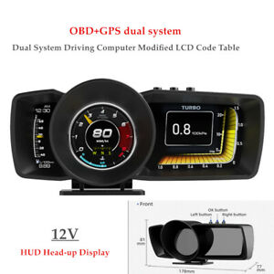 12V HUD Head-up Display OBD2 GPS Dual Driving Computer Modified LCD Code Table