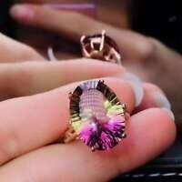 Natural Ametrine Quartz 925 Sliver Sterling Plated Rose Gold Ring Women Gifts