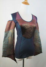 SAVE THE QUEEN ITALY WOMENS S SMALL MULTI COLOR COLD SHOULDER STRETCHY MESH