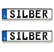 2x BMW Kennzeichenhalter in Silber Kennzeichen Nummernschild Halter EUROCLIP