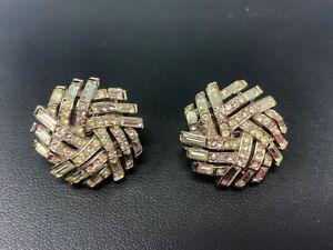 Crown Trifari Silver Tone Rhinestone Earrings