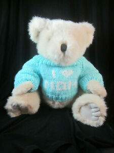 "Soft Expressions Main Joy Ltd 12"" Plush Bear I Love Mom Light Blue Sweater"