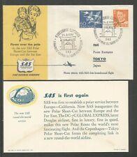 1957 DENMARK SAS TOKYO VIA THE NORTH POLE FLOWN OVER THE POLE OFFICIAL COVER