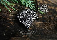 Viking or Celtic Falcon Pendant in Silver or Bronze - Norse/Bird/Eagle/Falconry