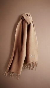 Burberry Heritage Cashmere Scarf Embroidered Equestrian Knight Kids 127 x 20 cm