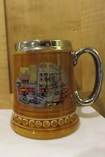 English Lord Nelson Pottery Silver Rim/ Handle  Stein Mug Piccadilly Circus EXC