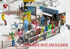 AS SHOWN : HO Busch 1170 Ski Party Scene w Shack, Table, etc.Winter Details KIT
