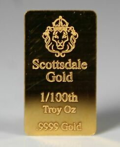 GOLD BULLION BAR SCOTTSDALE .9999% 0.32 GRAMS 24K/BAR..