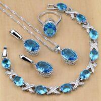 Jewelry Set London Blue Topaz 925 Sterling Silver Oval Wedding Gift