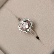 1.80 Ct Oval Cut Morganite Diamond Wedding Ring 925 Sterling Silver Size M N P