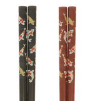 SET of 2 Pairs Japanese Lacquer Chopsticks Red Black Gold Koi Pond Made in Japan