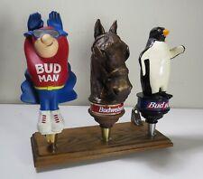 Budweiser Beer Tap Handles - Bud Man, Clydesdale, Bud Ice Penguin -Shelf Display