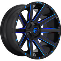 4 - 20x10 Black Blue Wheel Fuel Contra D644 6x135 6x5.5 -19