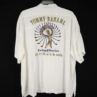 Men Tommy Bahama White Graphic Hawaiian Camp Shirt Size 2XL XXL Golf Swing DR