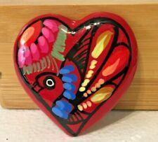 Mexican Talavera Heart Magnet Folk Art Pottery Refrigerator