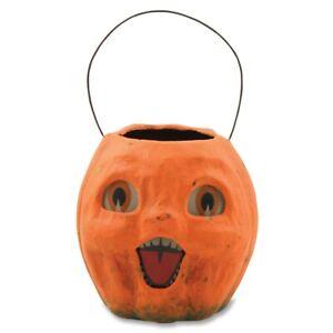 Bethany Lowe Halloween Small Vintage Paper Mache Pumpkin Bucket