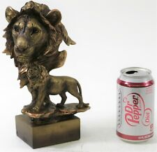 Art Deco Animal Zoo Memorabilia Lion Bust FauX Bronze Sculpture Figurine Sale