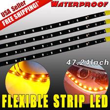 "4x 47"" Yellow Car Motor Boat Marine LED Strip Underbody Light Bar Waterproof 12V"