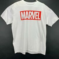 Marvel Mens Logo Graphic Print Crewneck T-Shirt White XL